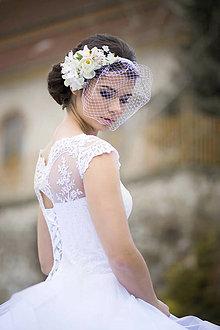 Ozdoby do vlasov - Kvetinový svadobný fascinátor - 7731206_