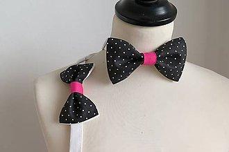 Doplnky - unisex bodkovaný motýlik black-white-pink - 7734983_