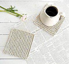 Úžitkový textil - Pletené podložky do kuchyne (natur) - 7731250_