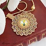 Náhrdelníky - Zlatá swarovski mandala - 7733581_