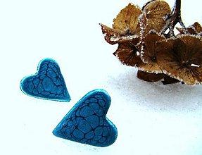Náušnice - Modré srdiečka - 7731950_