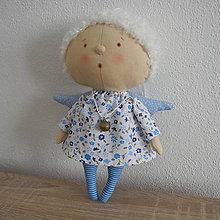 Bábiky - Anjelka - modrý kvietok - 7732254_