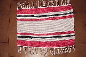 Úžitkový textil - Tkaný koberček bielo- červeno-čierny - 7734099_