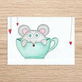 Papiernictvo - Roztomilosť v hrnčeku - zvieratko myš - 7731307_