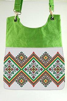 Iné tašky - Zelená taška s potlaču výšivky - 7738700_
