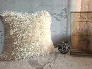 Úžitkový textil - Háčkovaný vankúš - Chlpáčik krémový - 7736564_