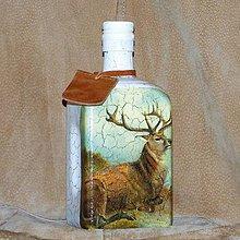 Nádoby - Fľaša pre poľovníka Sediaci jeleň retro - 7740258_