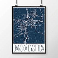 Grafika - BANSKÁ BYSTRICA, moderná, tmavomodrá - 7739365_