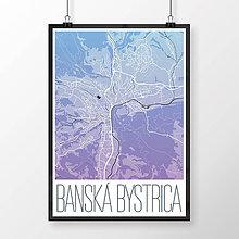 Grafika - BANSKÁ BYSTRICA, moderná, modro-fialová - 7739391_
