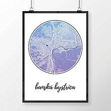 Grafika - BANSKÁ BYSTRICA, okrúhla, modro-fialová - 7739416_