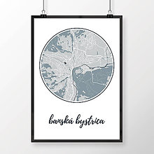 Grafika - BANSKÁ BYSTRICA, okrúhla, svetlomodrá - 7739438_