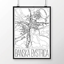 Grafika - BANSKÁ BYSTRICA, moderná, biela - 7739442_