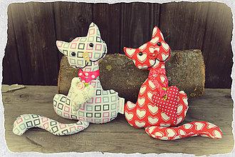 Dekorácie - Látková mačička - 7739439_