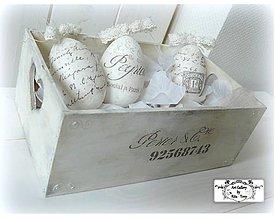 Dekorácie - Vintage vajíčka v bedničke :) - 7736045_
