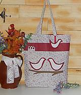 - Bordová nákupná taška s vtáčikmi - 7737365_