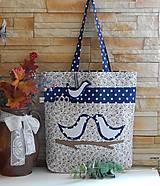 - Modrá nákupná taška s vtáčiakami - 7737489_