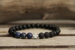 - Pánsky náramok z minerálov onyx, lapis lazuli a láva - 7737284_