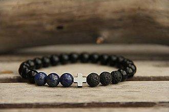 Šperky - Pánsky náramok z minerálov onyx, lapis lazuli a láva - 7737284_