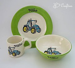 Detské doplnky - Hrnček, miska a tanier Traktor - 7738209_