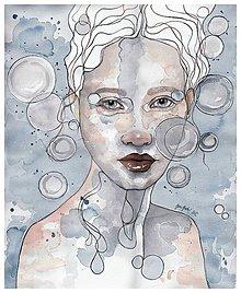 Obrazy - Dáma v modrom, akvarel - 7736646_