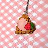 Náhrdelníky - Keksík srdce jahodová poleva - 7739602_