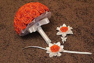 Kytice pre nevestu - Svadobná kytica z červených ruží - set - 7742900_