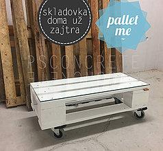 Nábytok - BIELY PALETOVÝ STOLÍK SKLADOVKA - 7744318_