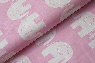 Textil - Metráž sloni na ružové - 7740570_