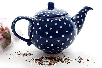 Nádoby - Kobaltový bodkatý čajník - 7741182_