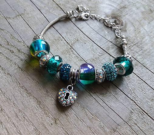 Náramok v štýle PANDORA-modrozelený   Johnny7 - SAShE.sk - Handmade ... c862a1866eb