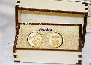 Šperky - Okrúhle drevené manžetky v drevenej krabičke - Navždy spolu - 7743530_