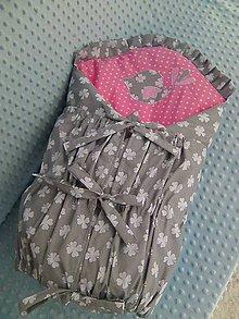 Textil - šedo ružová s vtáčikom - 7741633_