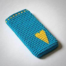 Na mobil - Obal na mobil - modrý srdiečkový :) - 7741293_