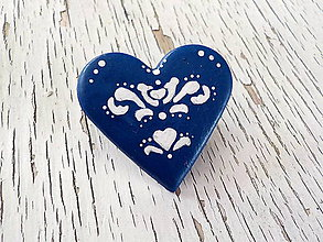 Odznaky/Brošne - FOLK maľovaná brošňa - modrá - 7744330_