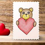 Papiernictvo - Kreslené srdce - medvedík - 7743737_