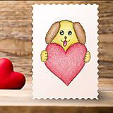 Papiernictvo - Kreslené srdce - psík - 7744154_