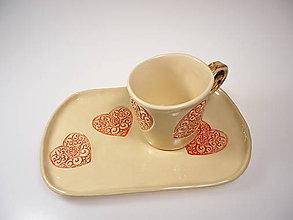 Nádoby - Raňajkový set Srdiečko ornament - 7749531_