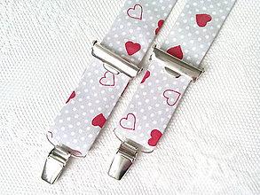 Doplnky - Valentínske pánske traky (šedé/biele bodky/červené srdiečka) - 7746407_
