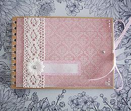 Papiernictvo - Kniha hostí / fotoalbum s mašľou - 7748492_