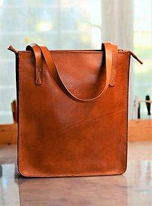 Veľké tašky - tote bag OANA na zips, karamel - 7749508_