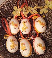 Dekorácie - veľkonočné vajíčko vyšívané - 7748778_
