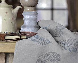 Úžitkový textil - Set troch šedých ľanových utierok s ručnou potlačou - 7746681_