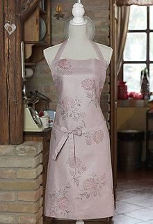 Iné oblečenie - Romantická ľanová zástera z francúzskeho ľanu s potlačou ruží - 7746807_