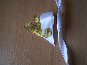Pierka - svadobné pierko srdiečko-zlaté - 7747814_