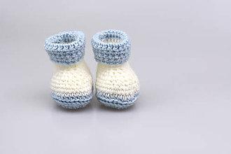 Topánočky - Bielo-modré papučky zimné FINE - 7746713_