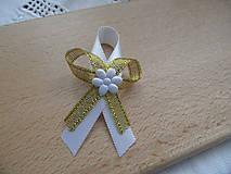 Pierka - Svadobné pierko bielo - zlaté - 7746983_