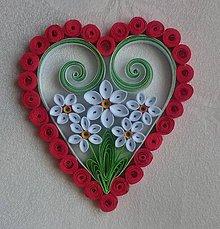 Drobnosti - Valentínske srdiečko - biely narcis - 7749004_