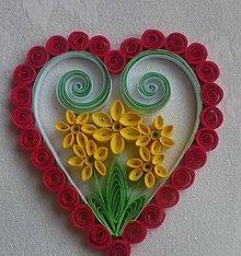 Drobnosti - Valentínske srdiečko - žltý narcis - 7749038_