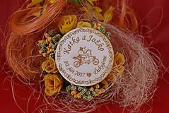 Drevená svadobná magnetka ako vyslužka hosťom  85