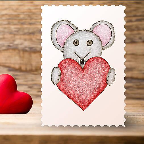 Kreslené srdce - myška